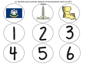 Louisiana Theme Concentration Game (shapes, letters, numerals & La. symbols)