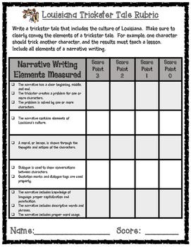 Louisiana Trickster Tale Narrative Writing Task Rubric