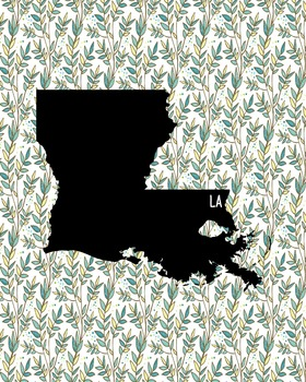 Louisiana Vintage State Map or Poster Class Decor, Classroom Decoration