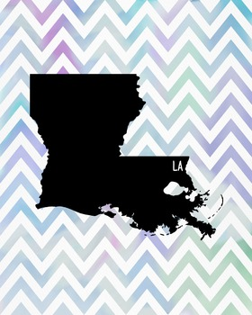 Louisiana Chevron State Map Class Decor, Government, Geography