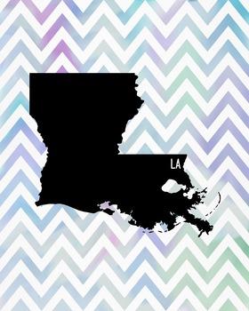 Louisiana Chevron State Map Class Decor, Government, Geography