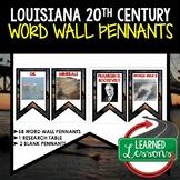 Louisiana in the 20th Century Word Wall Pennants, Louisiana History Word Wall