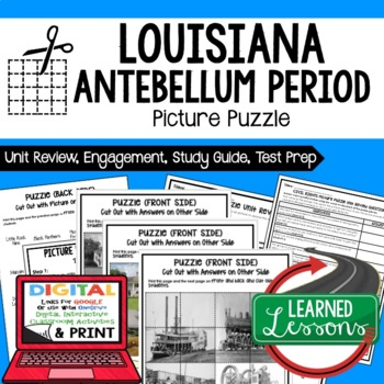Louisiana's Antebellum Period Picture Puzzle, Test Prep Unit Review Study Guide