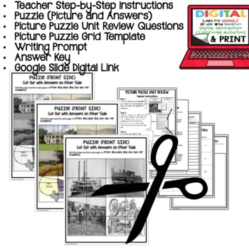 Louisiana's Antebellum Period Picture Puzzle, Test Prep Unit Review Study Guide