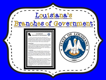 Louisiana Branches of Government Article With Graphic Organizers