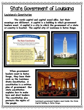 Louisiana's Branches of Government Informational Text