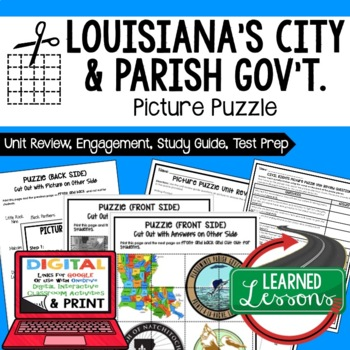 Louisiana's City, Parish Gov't Picture Puzzle, Test Prep Unit Review Study Guide
