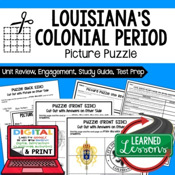 Louisiana's Colonial Period Picture Puzzle, Test Prep Unit Review Study Guide