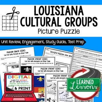 Louisiana's Cultural Groups Picture Puzzle, Test Prep Unit Review Study Guide
