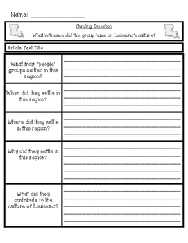 Louisiana's Culture Graphic Organizer with Guiding Question