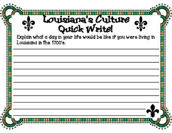 Louisiana's Culture Quick Write Writing Prompt