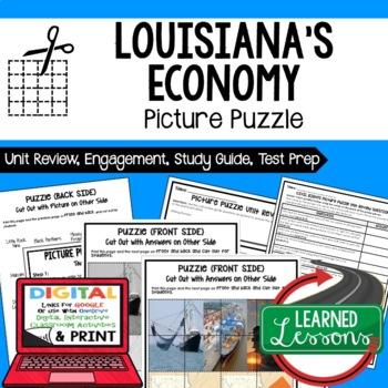 Louisiana's Economy Picture Puzzle, Test Prep, Unit Review, Study Guide