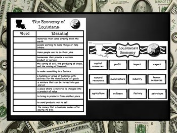 Louisiana's Economy Vocabulary PowerPoint Presentation and Printables Pack