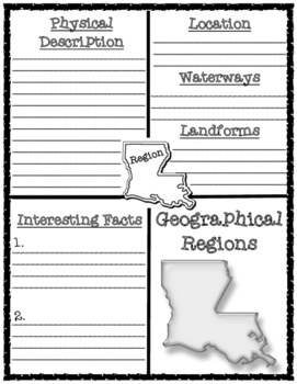 Louisiana's Geographical Regions Graphic Organizer