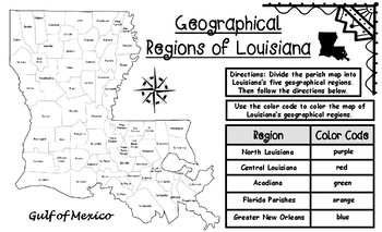 Louisiana's Geographical Regions Map Activity