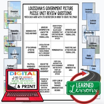 Louisiana's Government Picture Puzzle, Test Prep Unit Review Study Guide