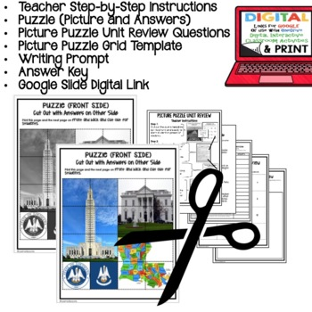 Louisiana's Government Picture Puzzle, Test Prep Unit Review Study Guide