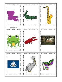 Louisiana themed Memory Matching and Word Matching preschool curriculum game.