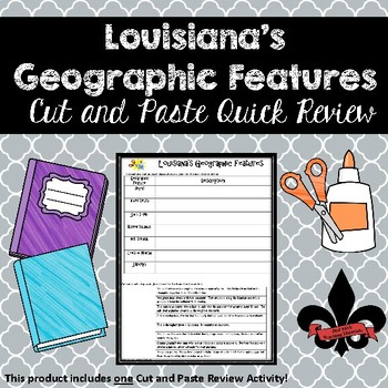 Lousiana's Geographic Features Cut and Paste Review--NO PREP