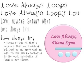 Love Always Personal and Commercial Use Font Pack