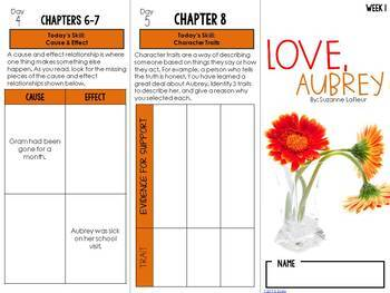 Love, Aubrey Foldable Novel Study Unit