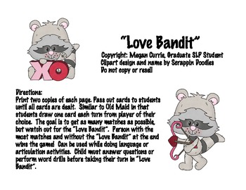 Love Bandit Card Game for Speech Therapy