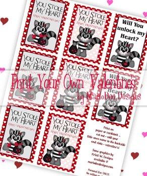 Love Bandit Racoon Printable Childrens Valentine Cards d1