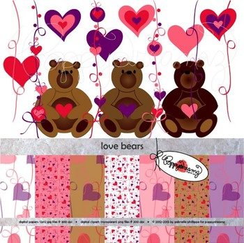 Love Bears Clipart and Digital Paper Set by Poppydreamz