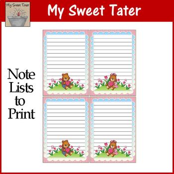 Love Bears Note Lists Printable