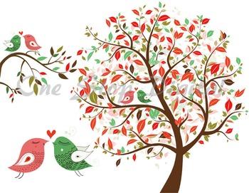 Love Bird Clip Art Tree Clipart Branch Heart Bird Element Red and Green Birds