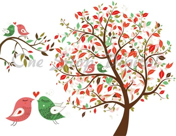 Bird tree. Love clip art clipart