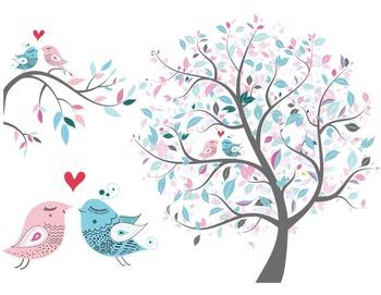Love Bird Clip Art Tree Clipart Branch Heart Bird Pink and Blue