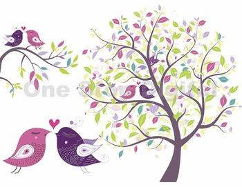 Love Bird Digital Clip Art Digital Tree Brach Pink Purple Bird Clipart