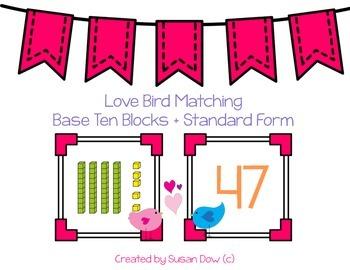 Love Bird Matching Math Station - Base Ten Blocks and Standard Form