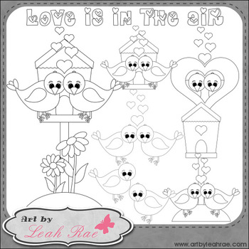 Love Birds 1 - Art by Leah Rae Clip Art & Line Art / Digital Stamps