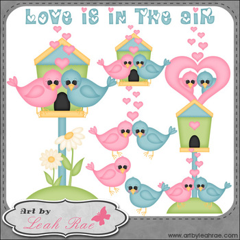 Love Birds 1 - Art by Leah Rae Clip Art & Line Art / Digit