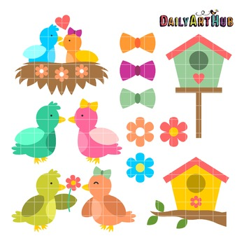 Love Birds Clip Art - Great for Art Class Projects!