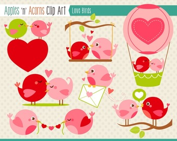Love Birds Clip Art - color and outlines