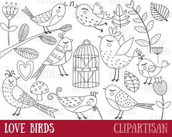Love Birds Clipart, Digital Stamps