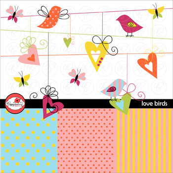 Love Birds Clipart and Digital Paper Set by Poppydreamz