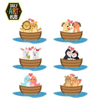 Love Boats Animals Cute Clip Art