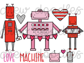Love Bots Digital Clip Art Set