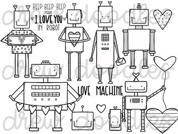 Love Bots Digital Clip Art Set- Black Line Version