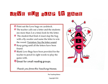 Valentine Love Bug ABC Slap It Game