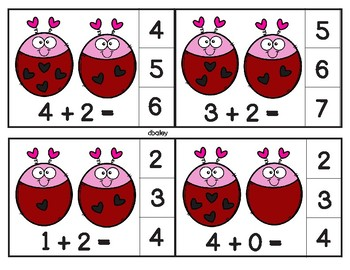 Love Bug Addition Clip Cards - Sums through 10