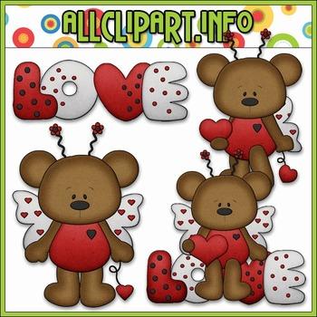 BUNDLED SET - Love Bug Bears Clip Art & Digital Stamp Bundle