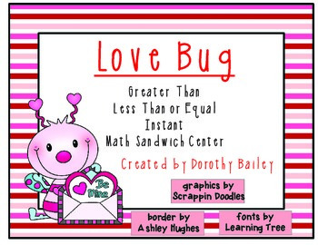 Love Bug Greater Than, Less Than or Equal Math Center