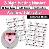 Missing Number using 2 Digit Addition and Subtraction Valentine Theme