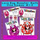 Love Bug Monster Math Dice Center with BONUS Valentines Gift Topper