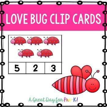 Love Bug Number Clip Cards